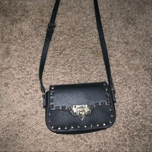 Black studded mini satchel